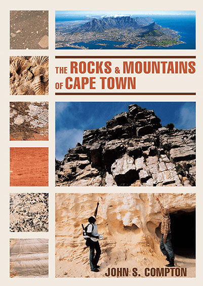 Cover to John Compton's guide to The Rocks and Mountains of Cape Town. Published by Earthspun Books.